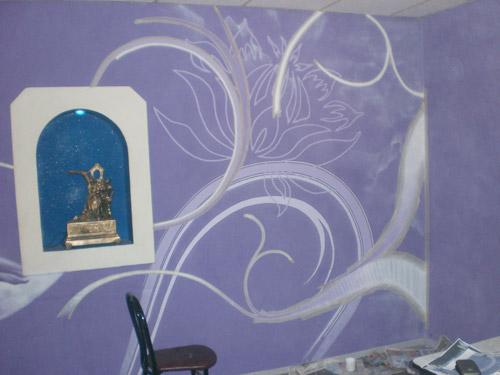 Процесс росписи кафе-бара «Дель»