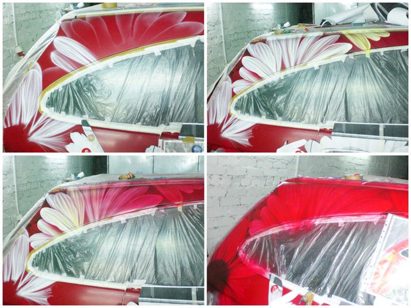 Создание аэрографии на автомобиле Хонда ЦР-В